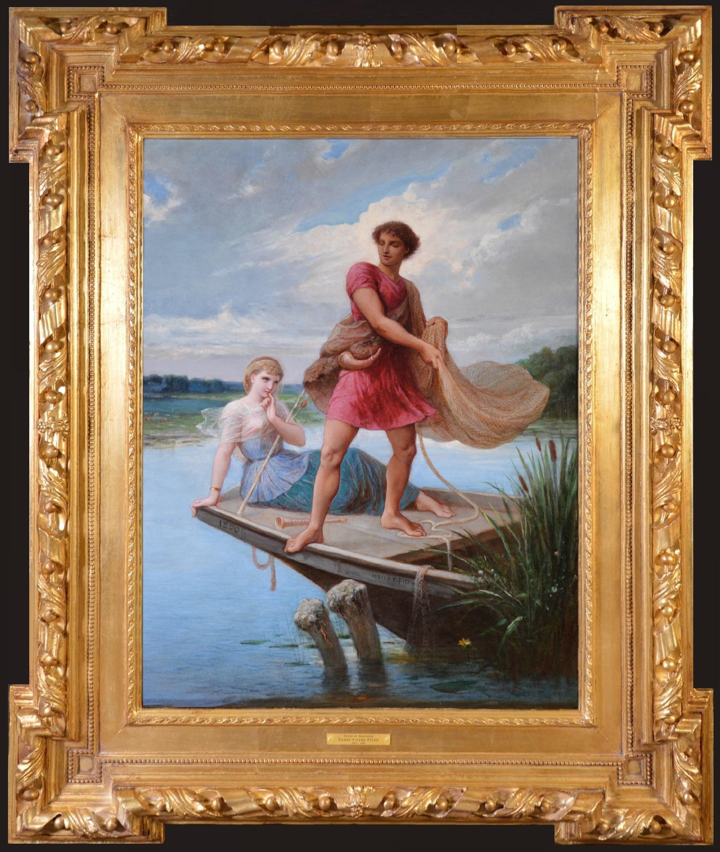 Tircis et Amarante - Large 19th Century Exhibition Oil Painting de la Fontaine