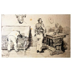 "Henri Pille ""the artist's studio"", Ink Pen on Paper, 19th Century"