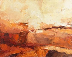 Sunset, The Fields of Velden   (Abstract, coral, orange, yellow, earth tones)