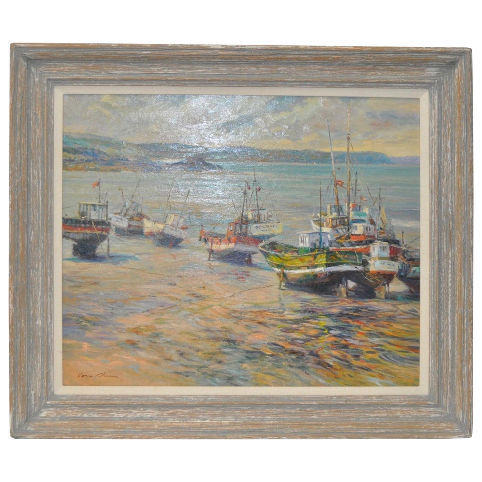 "Henri Plisson 'French' ""Coastal Scene"" Original Oil on Canvas, circa 1970"