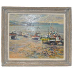 "Henri Plisson 'French' ""Coastal Scene"" Original Oil on Canvas, circa 1970"