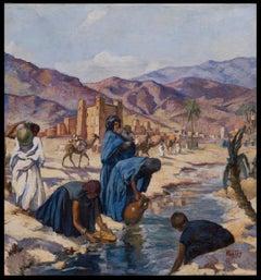 Porteuses d'eau à la Rivière, Vallée du Ghéris, Maroc