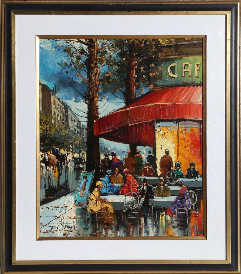 Artist: Henri Renard, French (1920 - ) Title: French Cafe Year: circa 1960 Medium: Oil on Canvas mounted to Masonite, signed l.l. Size: 23.5 x 19 inches Frame Size: 32.5 x 28.5 inches