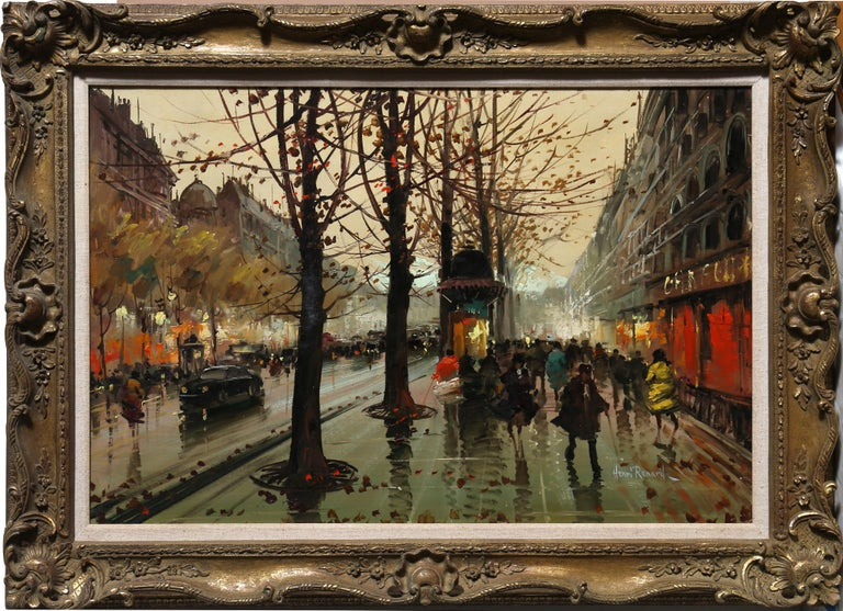 Artist: Henri Renard, French (1920 - ) Title: French Street Scene Year: circa 1950 Medium: Oil on Canvas, signed l.r. Image Size: 24 x 36 in. (60.96 x 91.44 cm) Frame Size: 31.5 x 44 inches