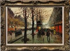 French Street Scene, Oil Painting by Henri Renard