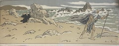 The Old Man and the Sea - Original Woodcut by Henri Riviere - Early 20th Century
