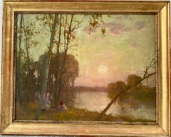 19th century French Impressionist Barbizon Painting - Elegant Group Figurative