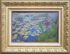 """""""Nenuphars, étang de villiers, loire inferieure"""" Oil painting by Henri Saintin"""