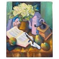 """Henri Valachman """"gouter aux poires"""" Oil on Canvas"""