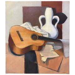 "Henri Valachman ""Guitare mon amie"" Oil on Canvas"