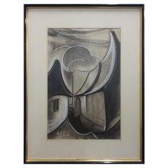 "Henri Van Wynsberghe '1921-2018'""Village Du Lot"", Charcoal and Chalk Drawing, 82"
