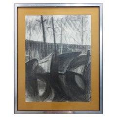 """Henri Van Wynsberghe """"port de menton, bateaux à quai """", Charcoal Drawing, 1977"""