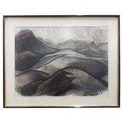 """Henri Van Wynsberghe """"Vallon"""", Charcoal Drawing, 1979"""