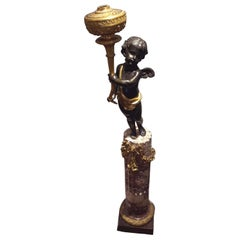 Henri Vian Bronze Torchier on Marble Pedestal