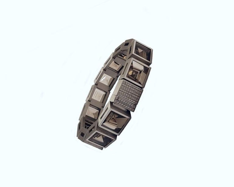 Henrich & Denzel Platinum Diamond Smoky Quartz Bracelet For Sale 5