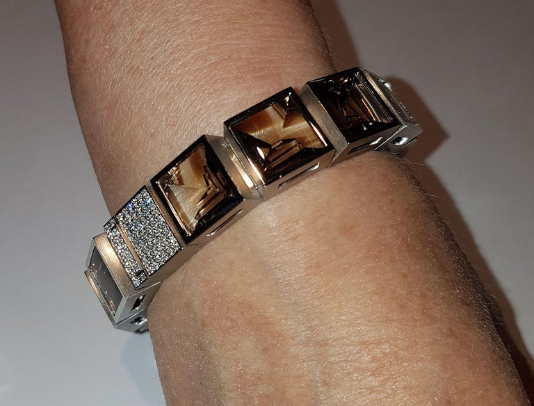 Modern Henrich & Denzel Platinum Diamond Smoky Quartz Bracelet For Sale