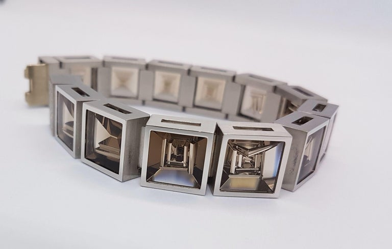 Henrich & Denzel Platinum Diamond Smoky Quartz Bracelet In New Condition For Sale In Berlin, DE