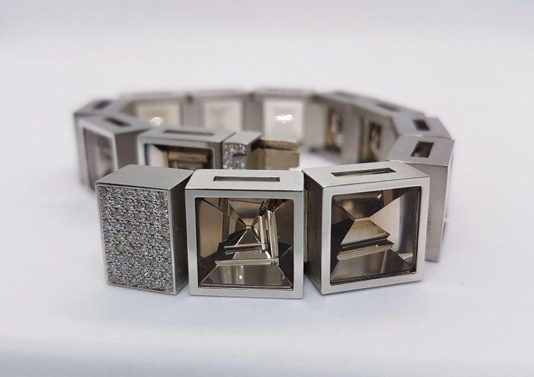 Women's Henrich & Denzel Platinum Diamond Smoky Quartz Bracelet For Sale