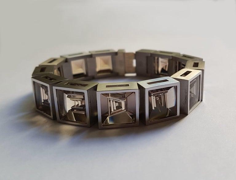 Henrich & Denzel Platinum Diamond Smoky Quartz Bracelet For Sale 2