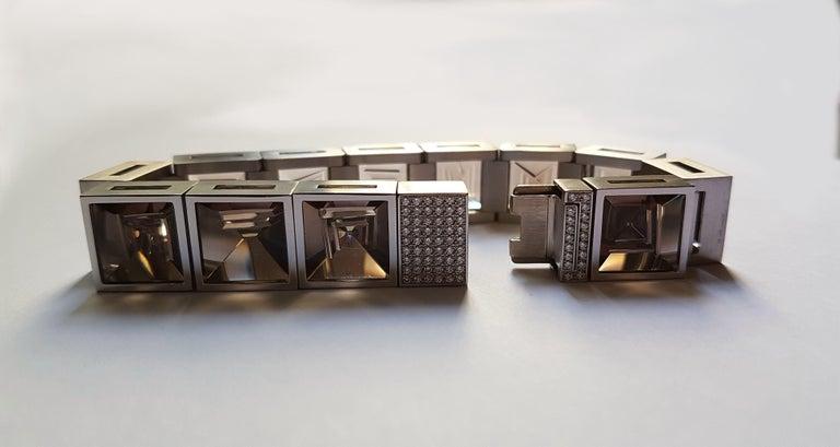 Henrich & Denzel Platinum Diamond Smoky Quartz Bracelet For Sale 3