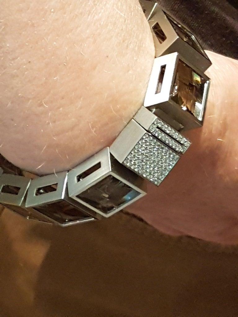 Henrich & Denzel Platinum Diamond Smoky Quartz Bracelet For Sale 4
