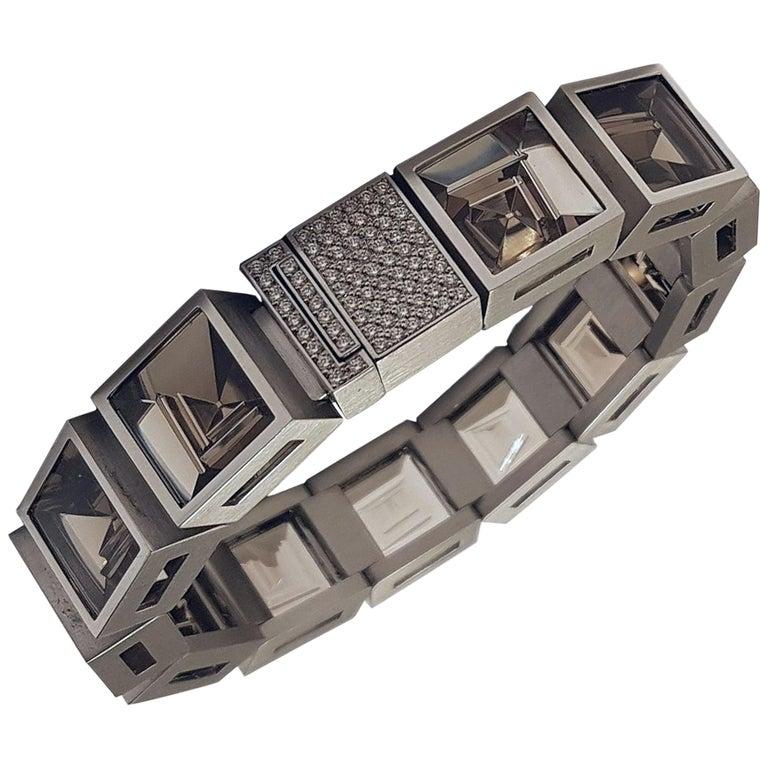 Henrich & Denzel Platinum Diamond Smoky Quartz Bracelet For Sale