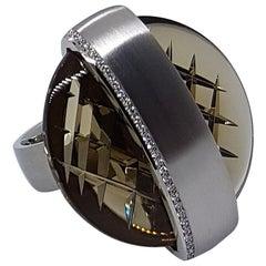 Henrich & Denzel Platinum Diamond Smoky Quartz Ring