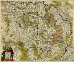 Antique map of  Brabant (Brabantiae) by Hondius - Handcol. engraving - 17th c.
