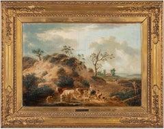 18th century Flemish landscape painting - Figure - Oil on canvas signed shepards