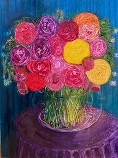 Henrietta Caledon, Yellow Roses, Original Still Life Floral Oil Painting
