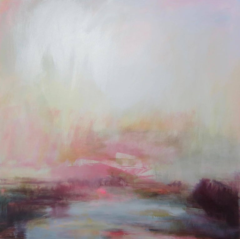Henrietta Stuart Abstract Painting - Tranquil Waters of the River Thames, Richmond, London