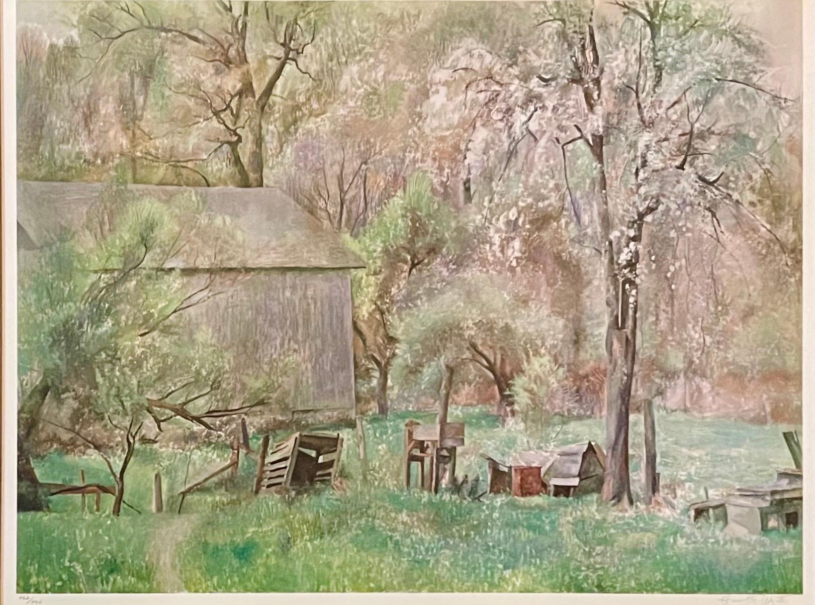 Brandywine Farm Collotype Lithograph Hand Signed Henriette Wyeth Americana Art