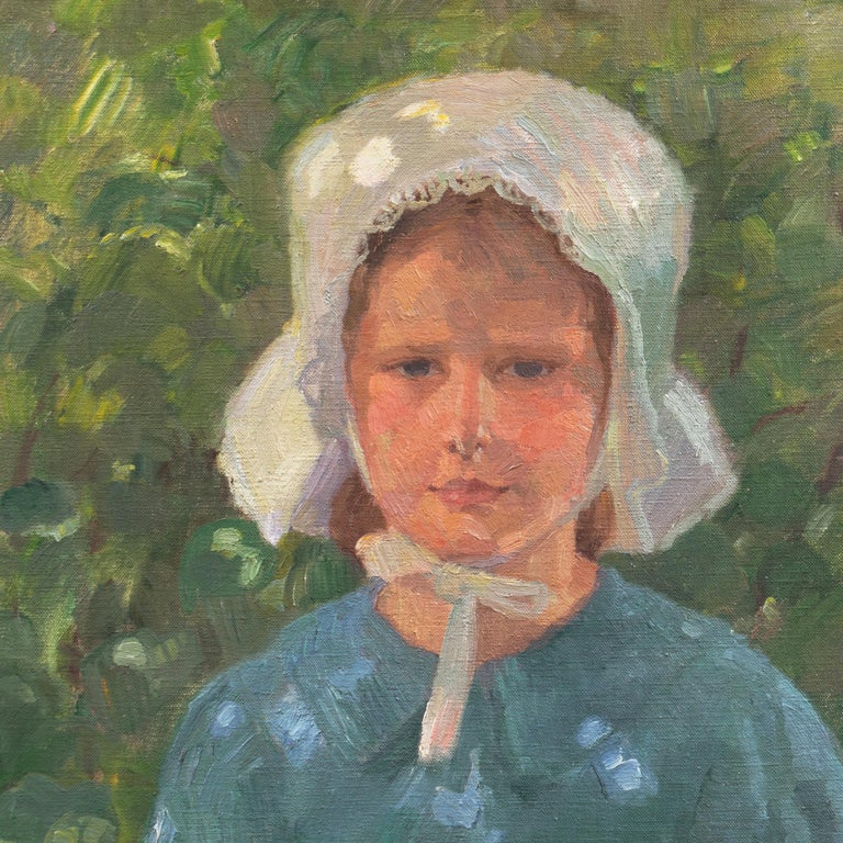 Danish Post-Impressionist Study of a Young Girl Wearing a White Bonnet - Gray Portrait Painting by Henrik Schouboe