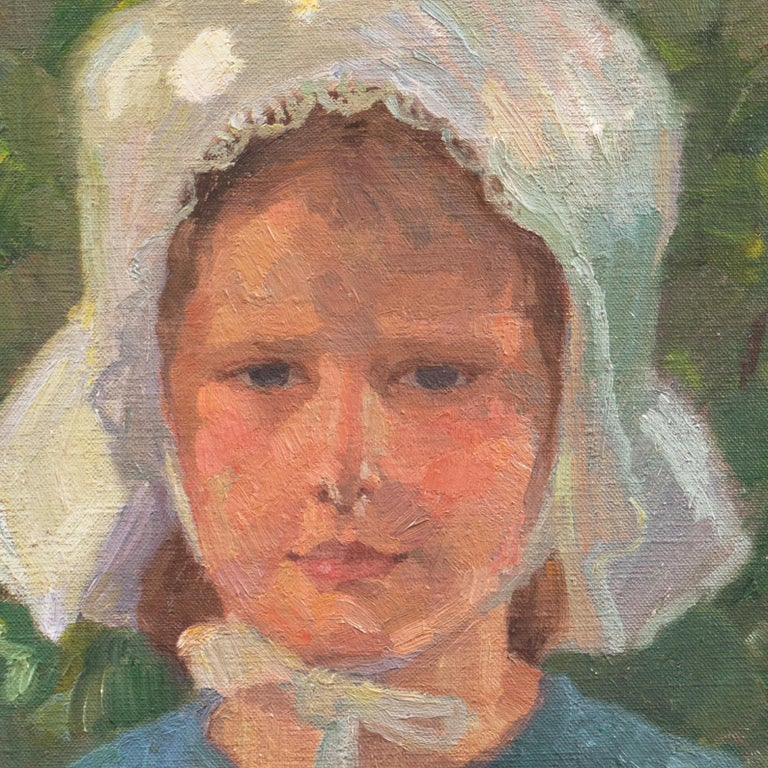 Danish Post-Impressionist Study of a Young Girl Wearing a White Bonnet For Sale 1