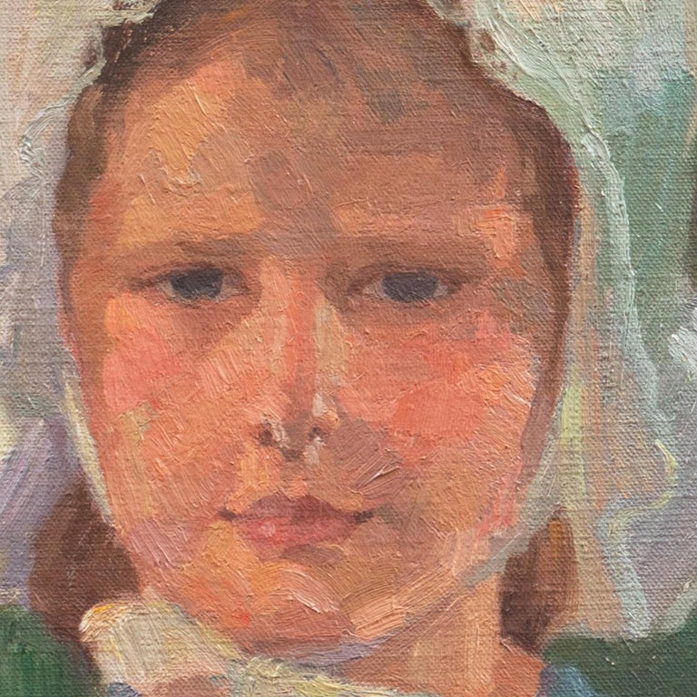 Danish Post-Impressionist Study of a Young Girl Wearing a White Bonnet For Sale 2