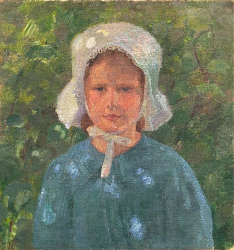 Henrik Schouboe Portrait Painting - Danish Post-Impressionist Study of a Young Girl Wearing a White Bonnet