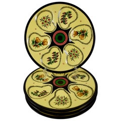 Henriot Quimper Midcentury French Faïence Sunny Yellow Floral Oyster Plates S/4