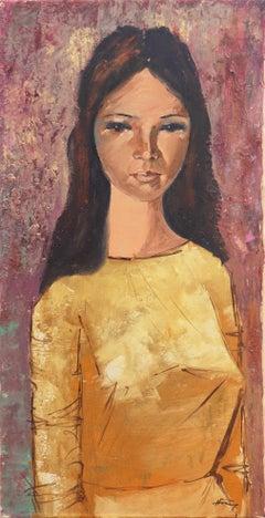 'Portrait of Aichi', School of Paris Oil, Elegant Young Woman, Brunette