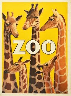 Original Vintage Advertising Poster For Copenhagen Zoo Denmark Giraffe Design