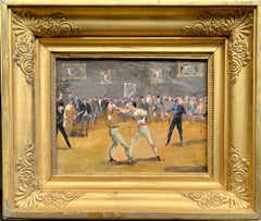 English Boxing match scene, with top hatted gents watching inside an interior