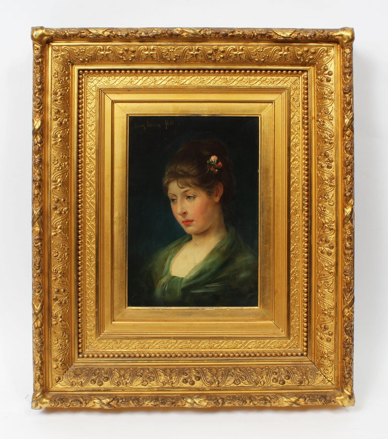 Antique American Classical Portrait Beautiful Young Woman Signed Oil Painting - Brown Portrait Painting by Henry Bacon