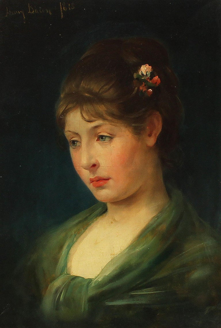 Antique American classical portrait oil painting by Henry Bacon (1839 - 1912).  Oil on board, circa 1878. Signed.  Displayed in a period giltwood frame.  Image, 10