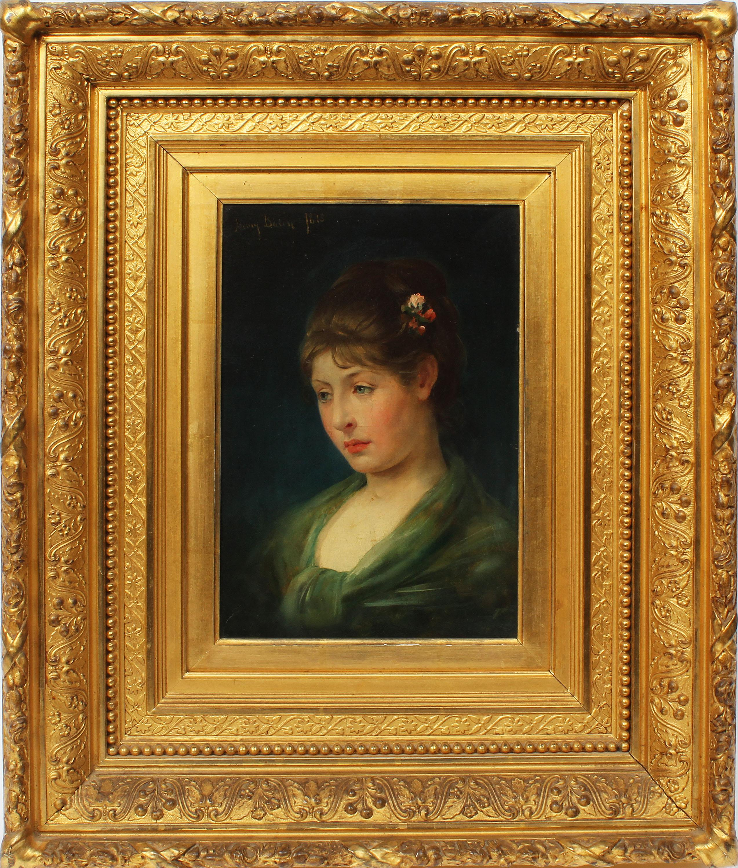 Antique American Classical Portrait Beautiful Young Woman Signed Oil Painting