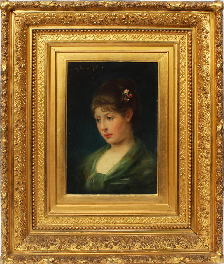 Henry Bacon Portrait Painting - Antique American Classical Portrait Beautiful Young Woman Signed Oil Painting