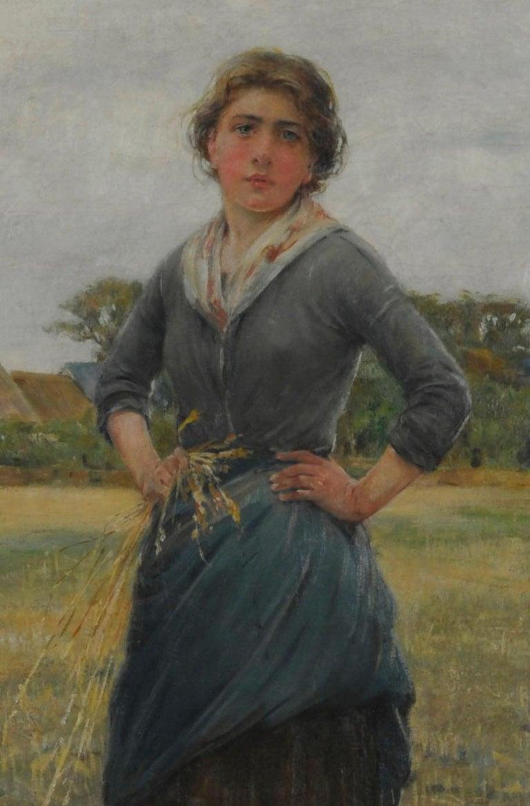 Woman in a Field - Barbizon School Painting by Henry Bacon