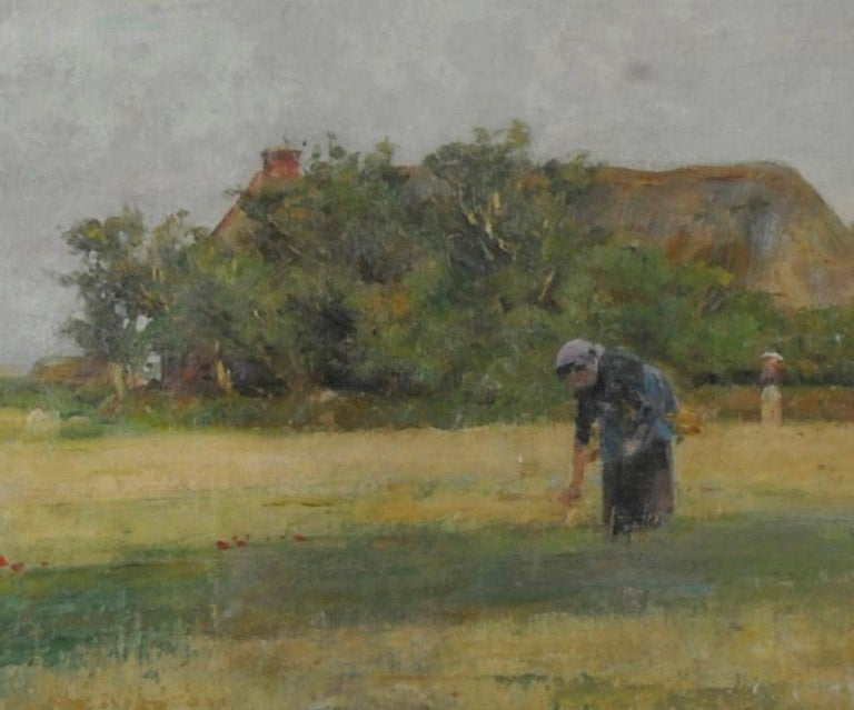 Woman in a Field - Brown Figurative Painting by Henry Bacon