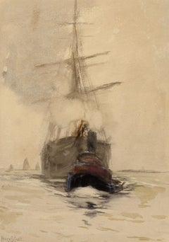 """""""Coming Into Harbor,"""" Henry Bayley Snell, watercolor, ship pulled by tugboat"""