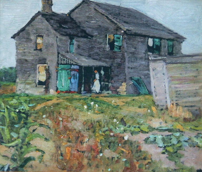 Henry Snell, Old Farmhouse, Oil on Board, Signed - Painting by Henry Bayley Snell
