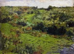 Top of the Hill, American Impressionist Landscape with Figure, New Hope School