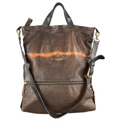 HENRY BEGUELIN Brown Tie Dye Leather Tote Bag